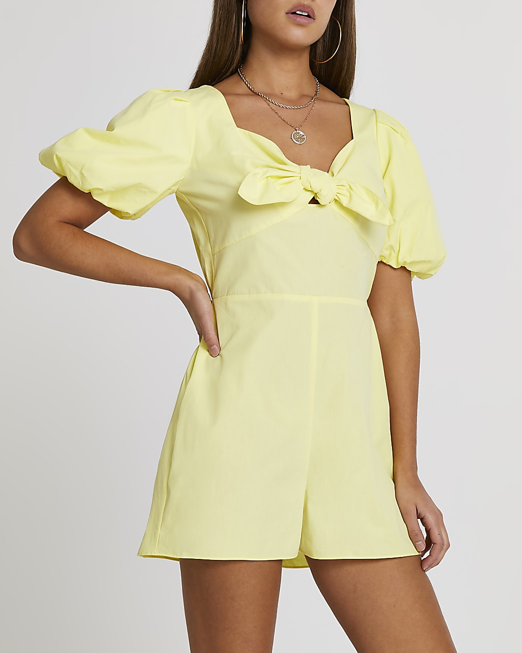 Yellow puff sleeve bow front playsuit