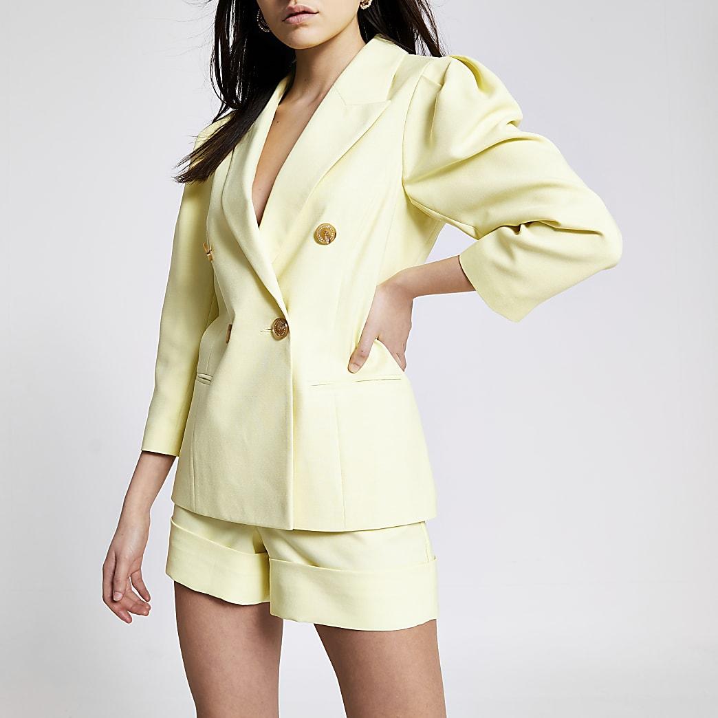 Zweireihiger Blazer in Gelb mit Puffärmeln