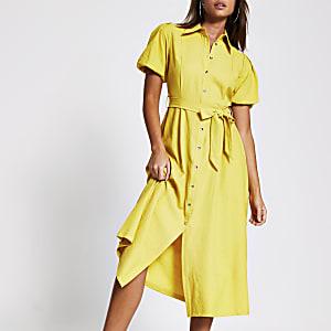 Yellow puff sleeve midi shirt dress