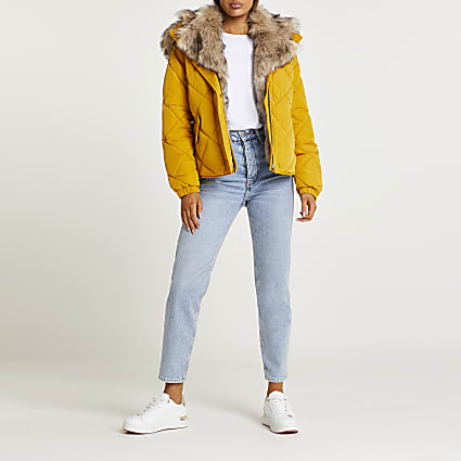 Yellow quilted puffer coat