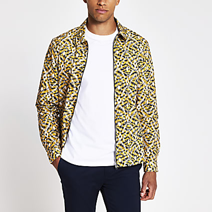 Yellow regular fit abstract print overshirt