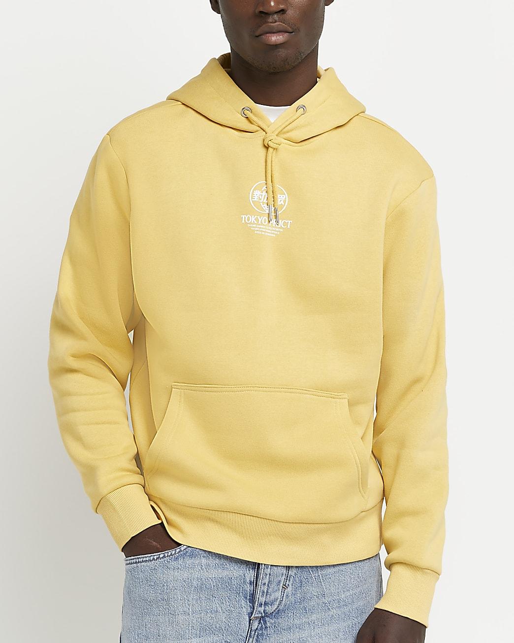 Yellow regular fit graphic hoodie