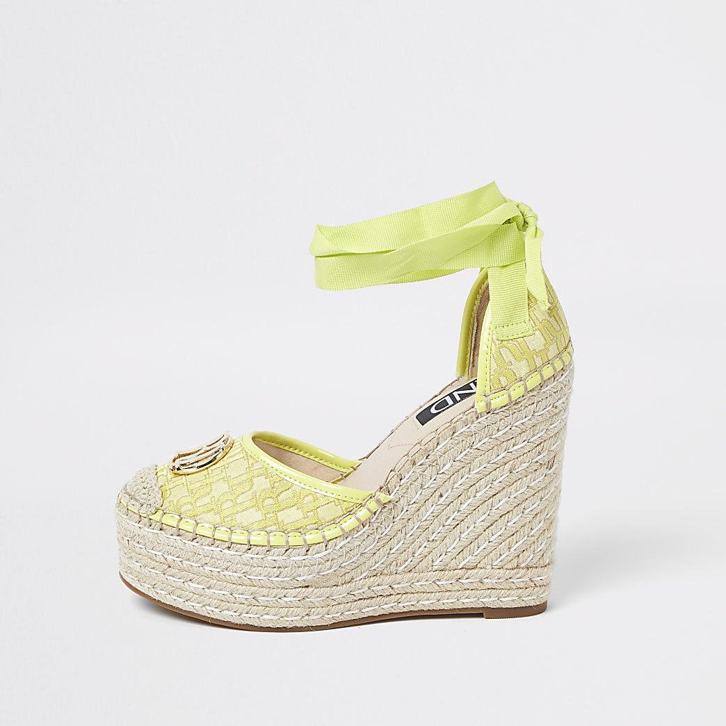 Yellow RI ankle tie wedge sandals