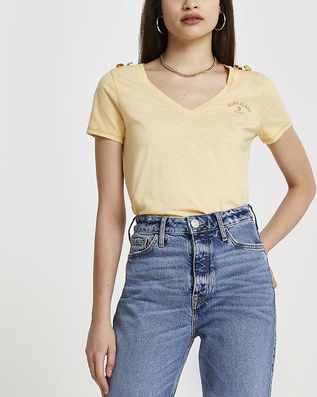 Yellow RI gold button detail t-shirt