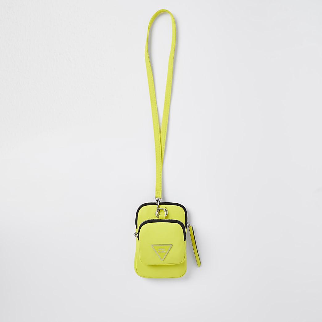 Yellow RI nylon cross body pouch bag