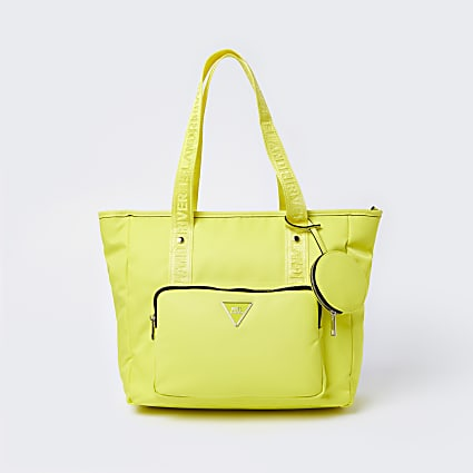 Yellow RI nylon shopper bag with mini pouch