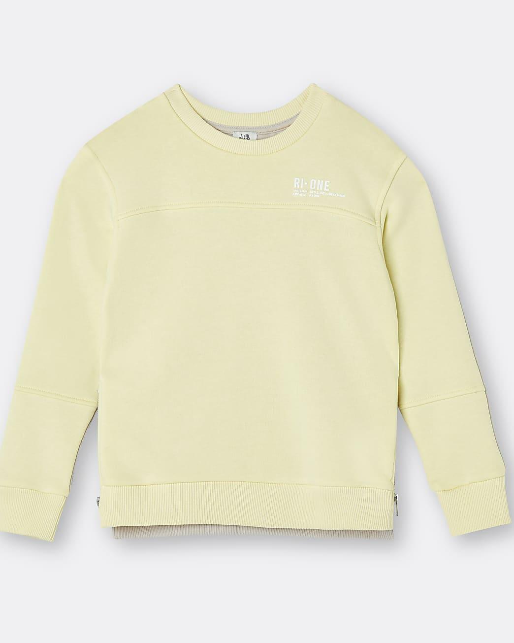 Yellow RI ONE contrast back print sweatshirt