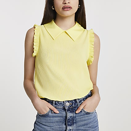 Yellow ribbed collared blouse top