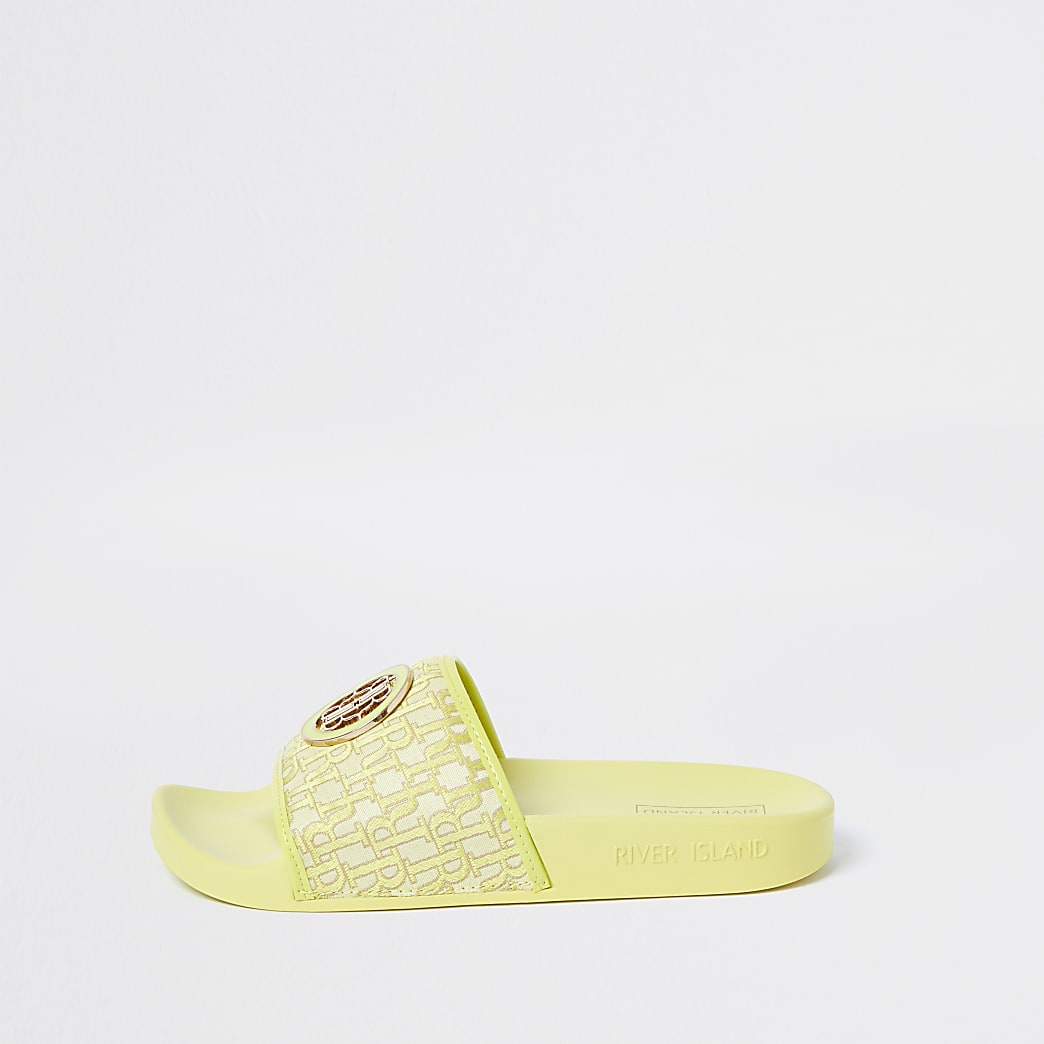 Yellow 'RIR' monogram sliders