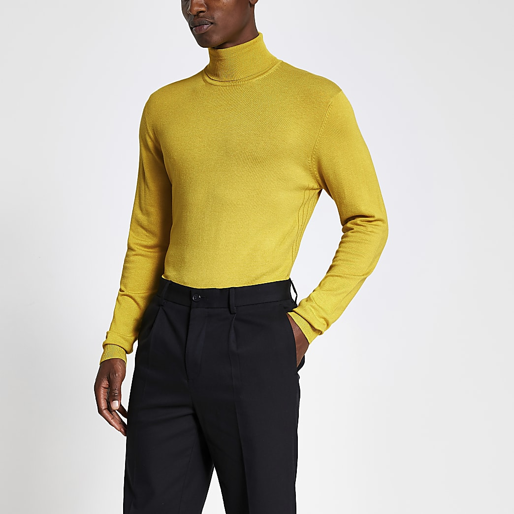 Yellow roll neck long sleeve top