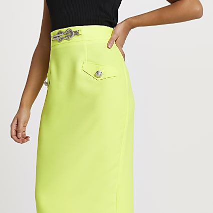Yellow rope detail pencil skirt