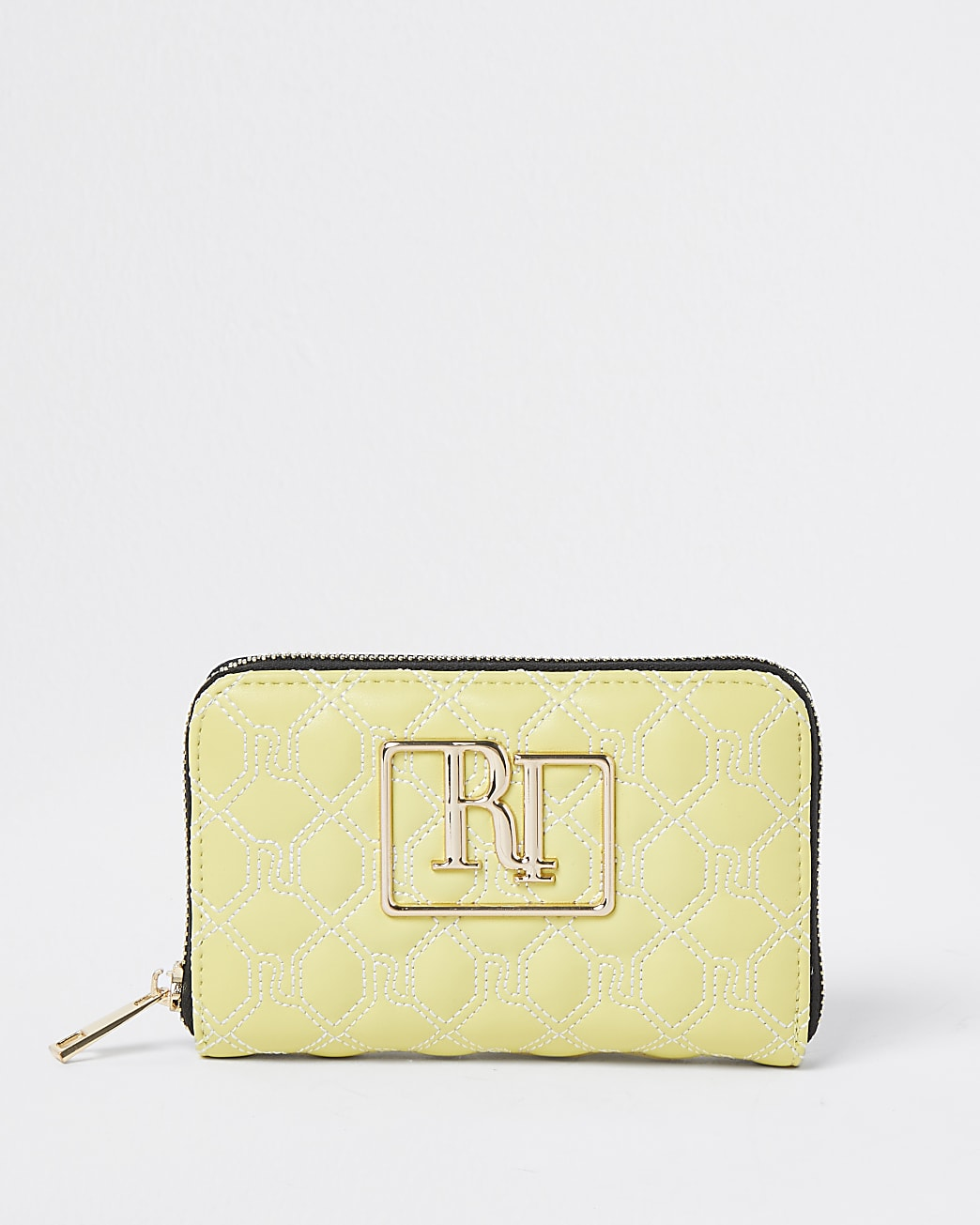 Yellow 'RR' quilted patent mini purse