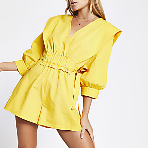 Yellow ruched tie waist wrap playsuit