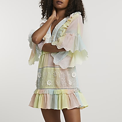 Yellow ruffle tie dye mini beach dress