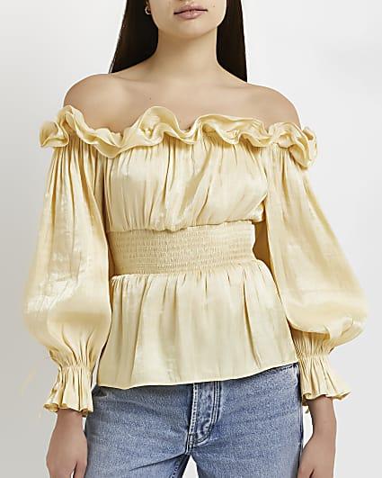 Yellow ruffled bardot top