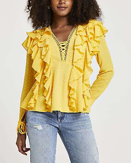Yellow ruffled top