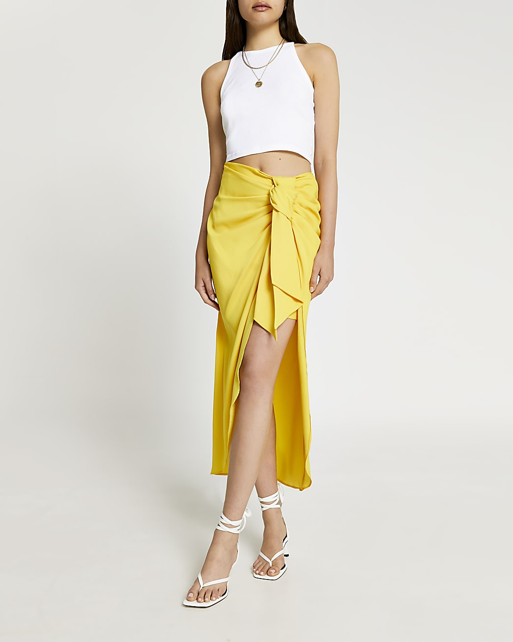 Yellow satin front tie midaxi skirt