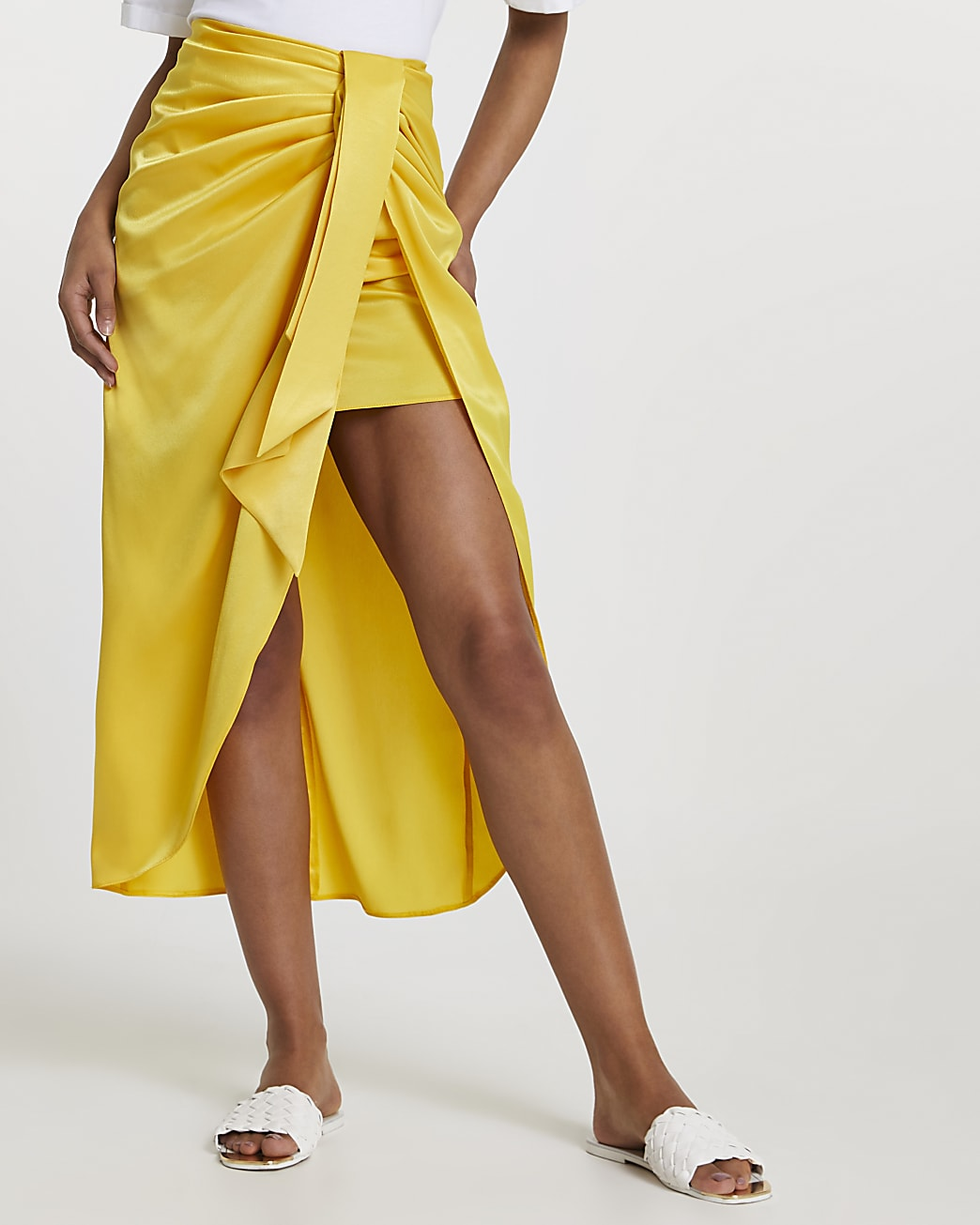 Yellow satin front tie midi skirt
