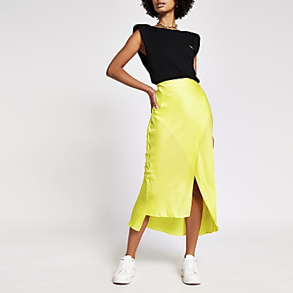 Yellow satin midi skirt
