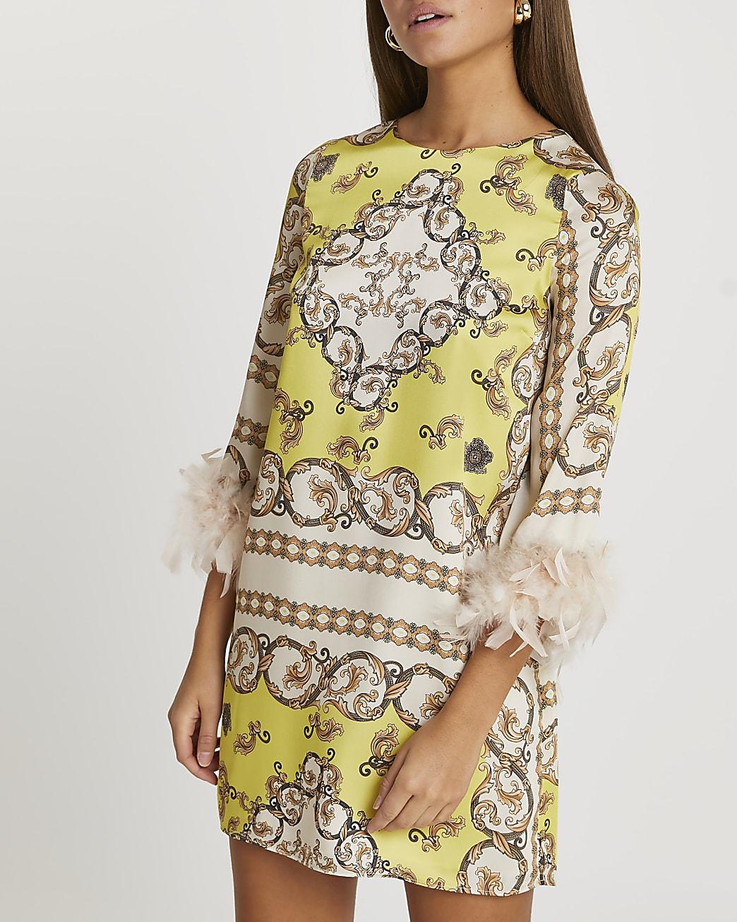 Yellow scarf feather shift mini dress