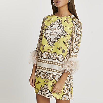Yellow scarf feather shift mini dress