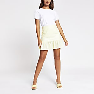 Mini-jupe péplum jaune