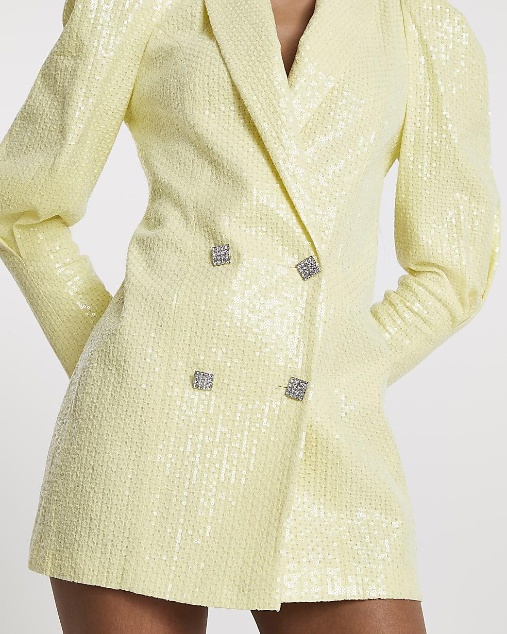 Yellow sequin puff sleeve blazer dress