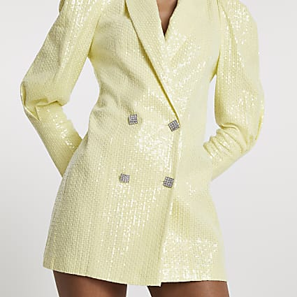 Yellow sequin puff sleeve blazer dress