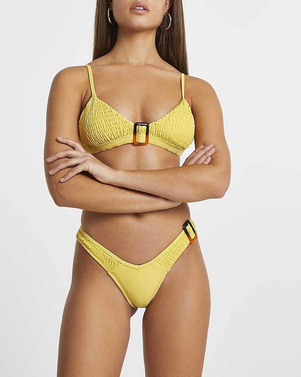 Yellow shirred bikini briefs