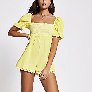 Yellow shirred short sleeve beach playsuit