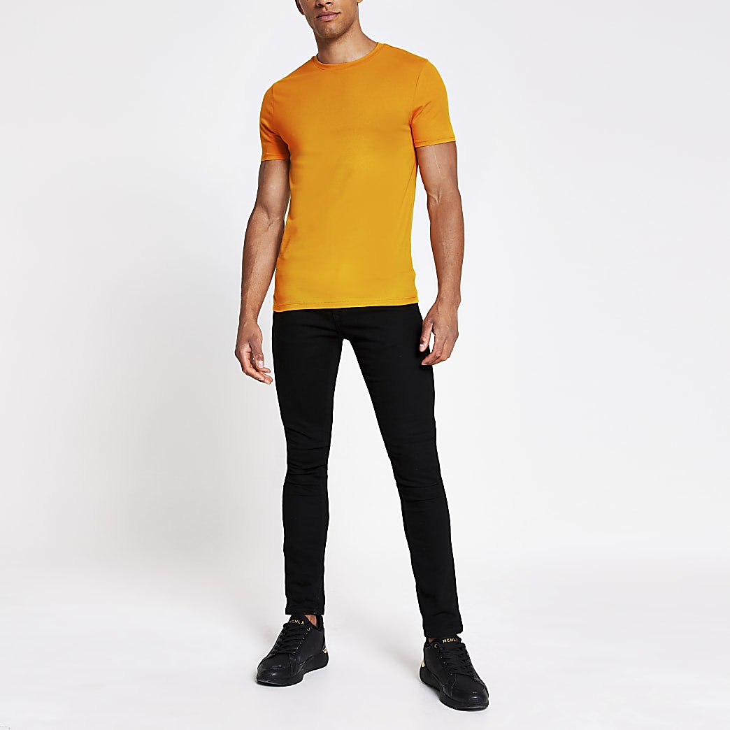 Yellow short sleeve muscle fit T-shirt