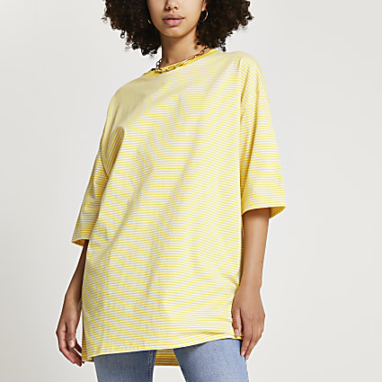 Yellow short sleeve oversized stripe t-shirt
