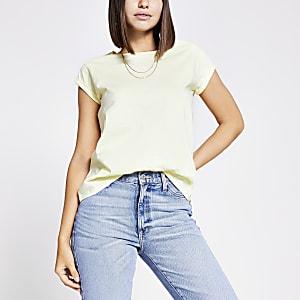 Geel T-shirt met korte mouwen met omslag