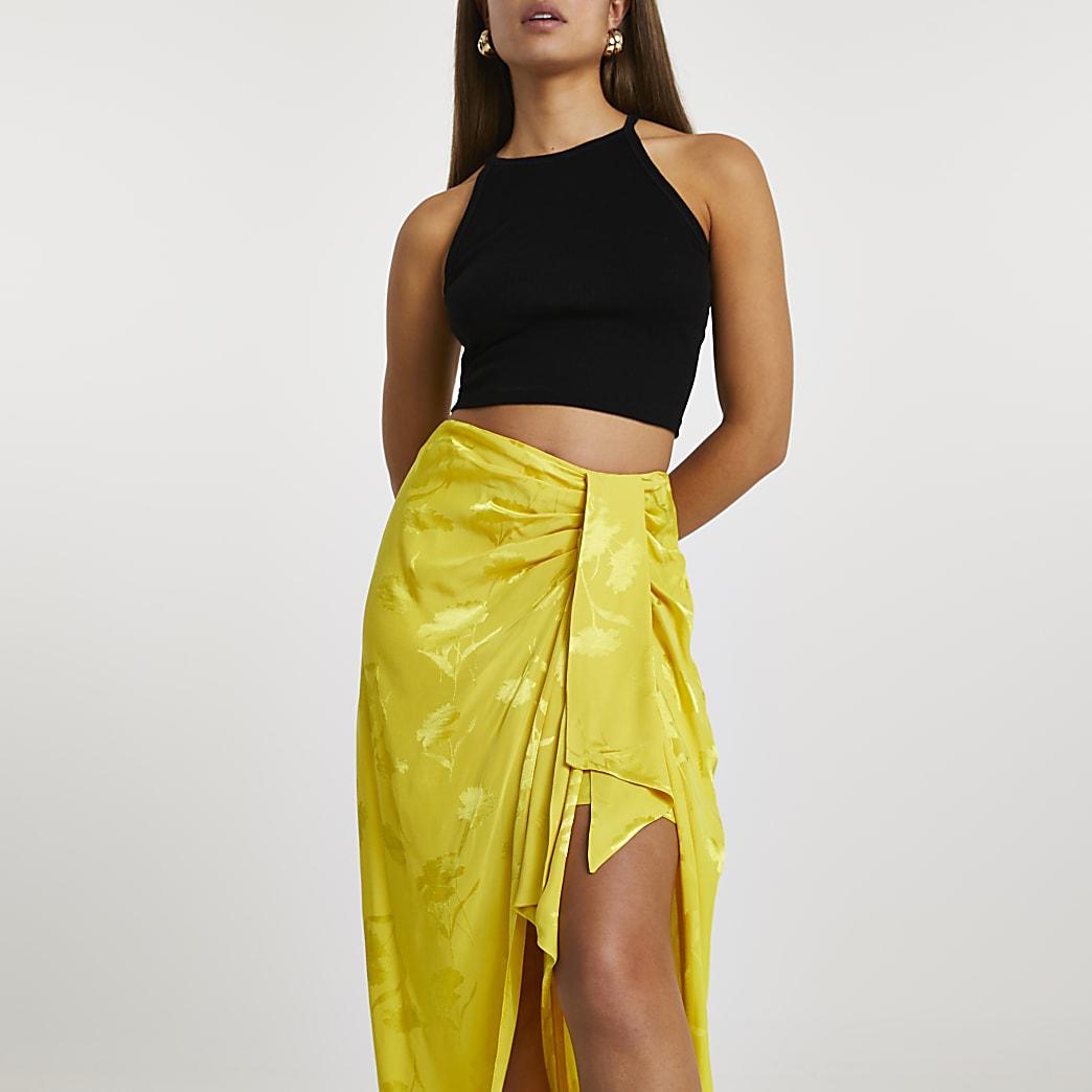 Yellow side knot tie midi skirt