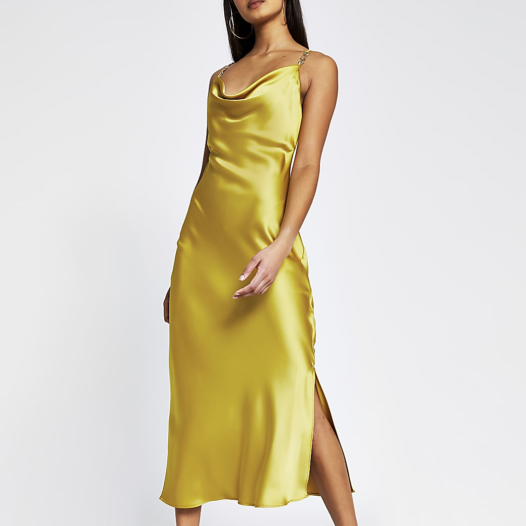 Yellow sleeveless cowl midi dress with trim