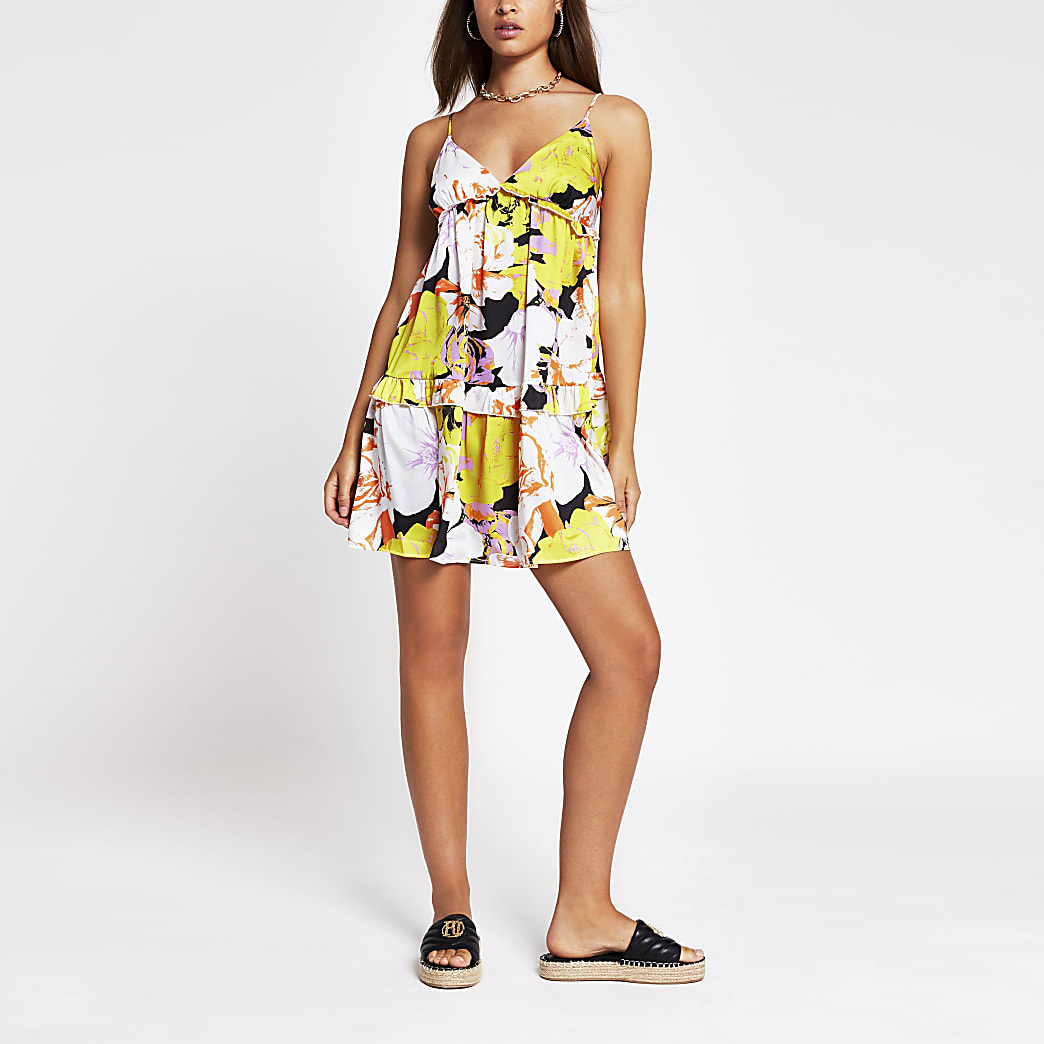 Yellow sleeveless floral cami mini dress