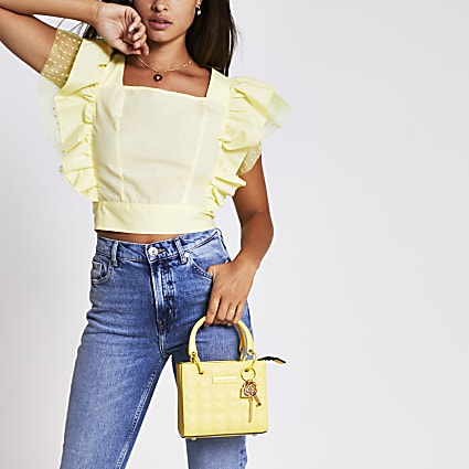 Yellow sleeveless square neck hybrid top
