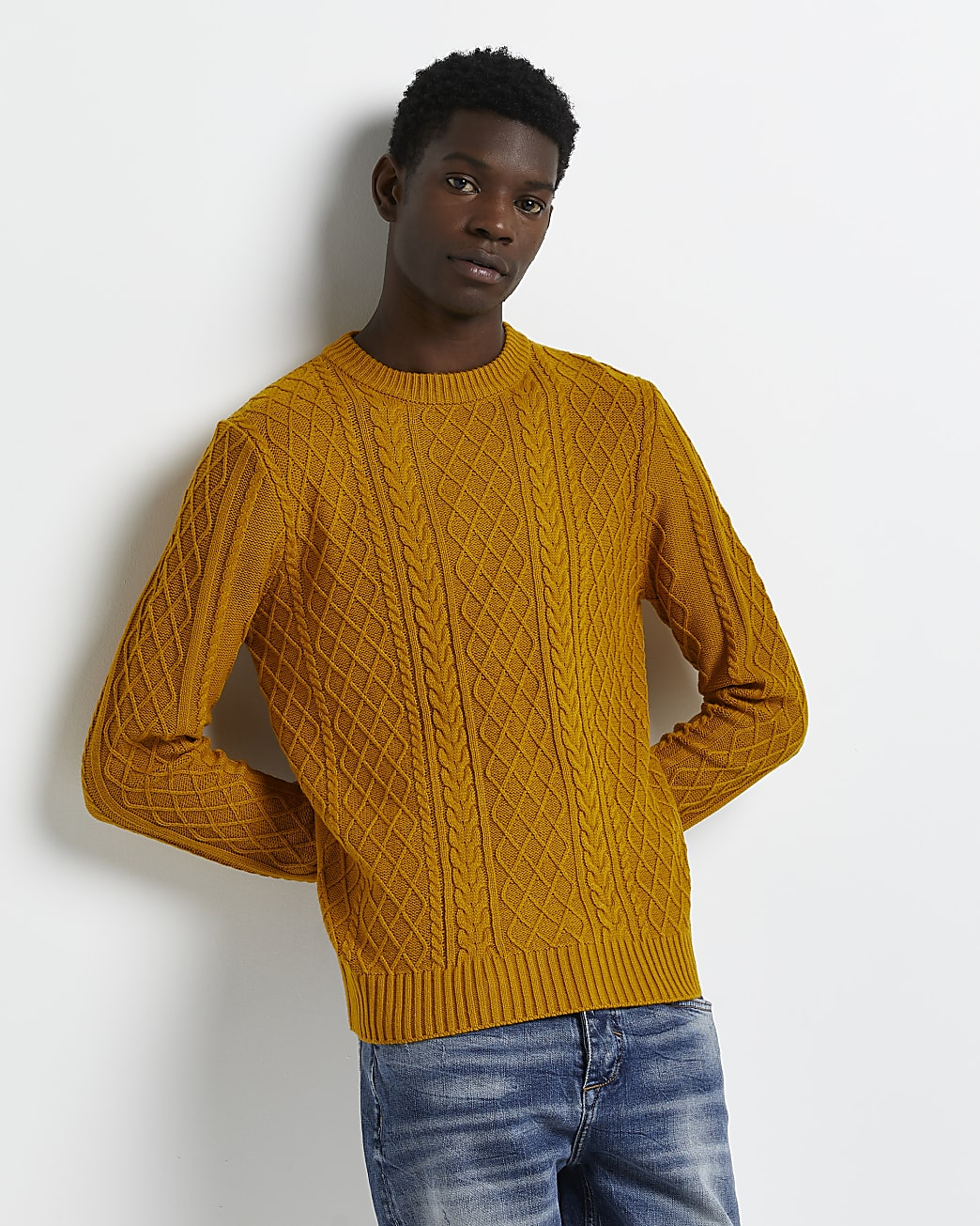 Yellow slim fit cable knit jumper