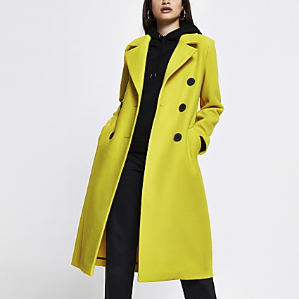 Yellow slouch long line coat
