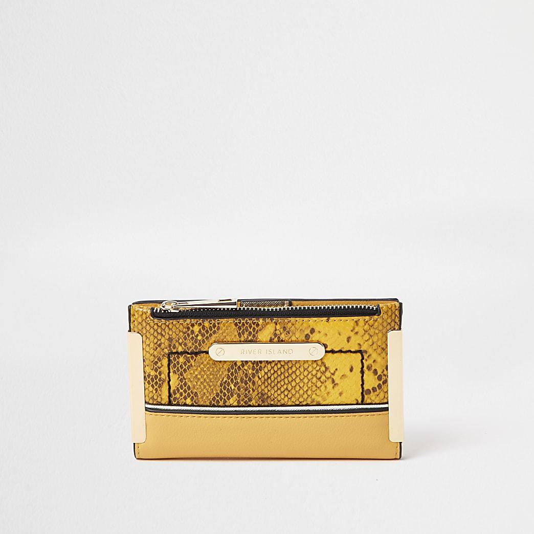 Yellow snake mini zip top purse