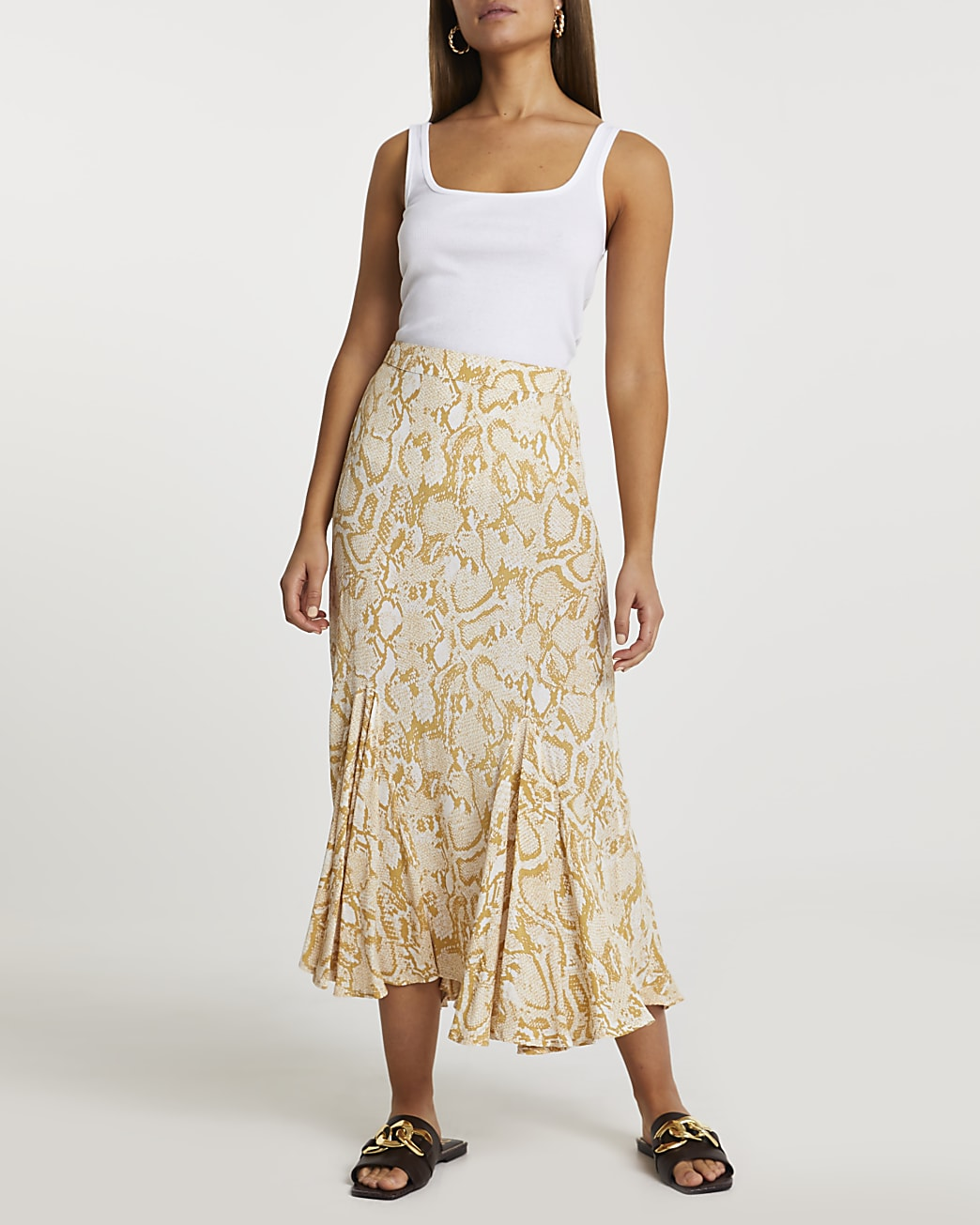 Yellow snake print hanky hem skirt