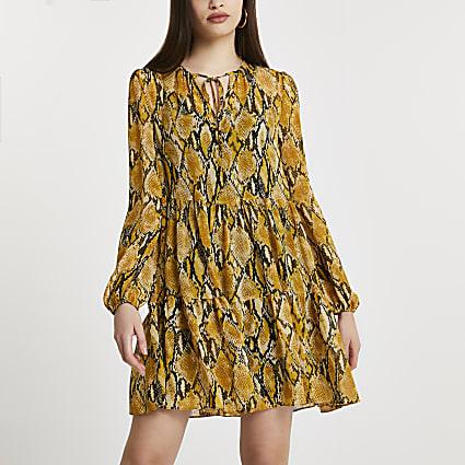 Yellow snake print smock mini dress