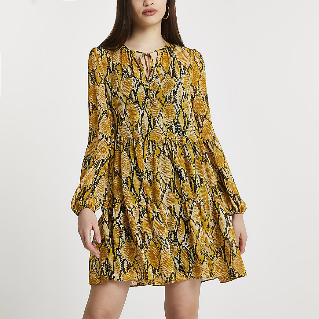 Yellow snake print smock mini dress