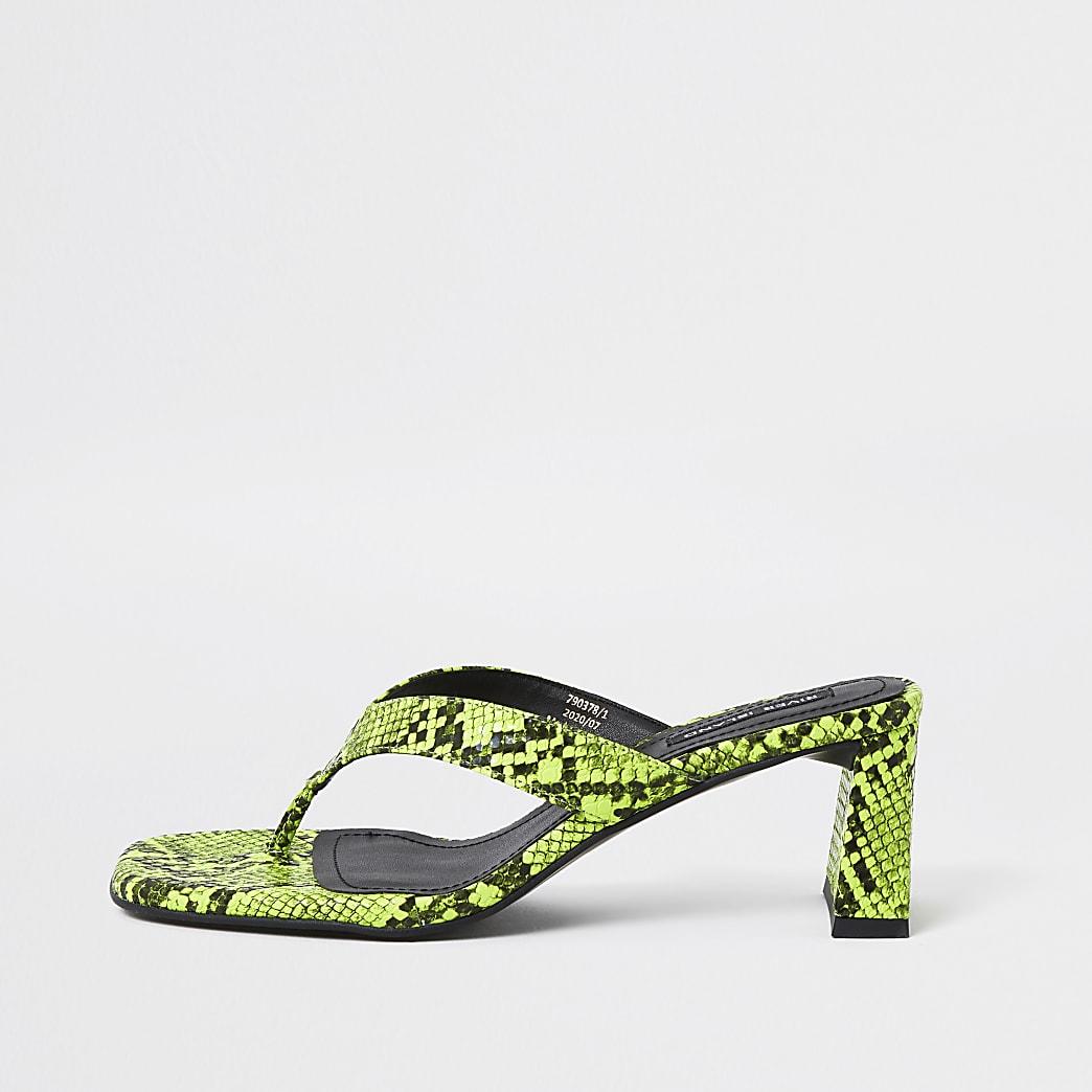 Yellow snake print toe post block heel sandal