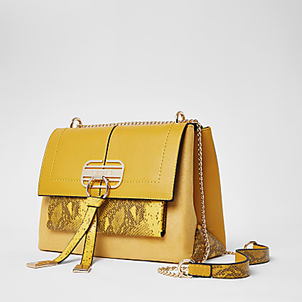 Yellow snake printed cross body handbag