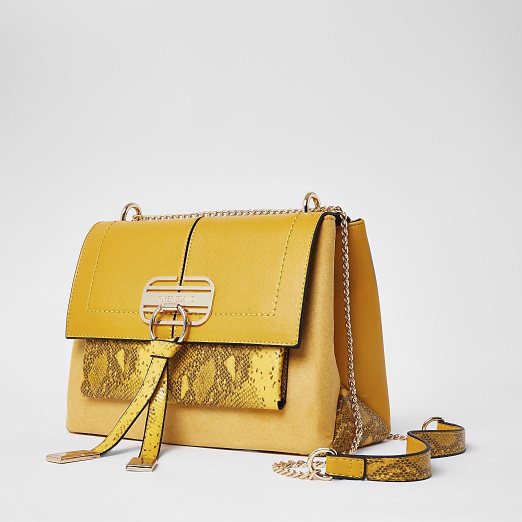 Yellow snake printed cross body handbag