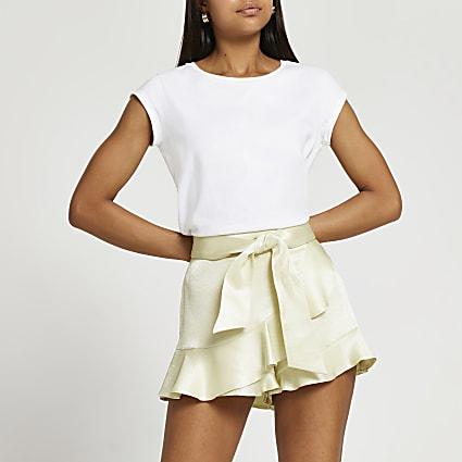 Yellow soft frill shorts