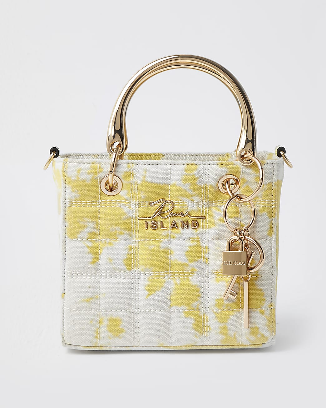 Yellow square quilted tote bag