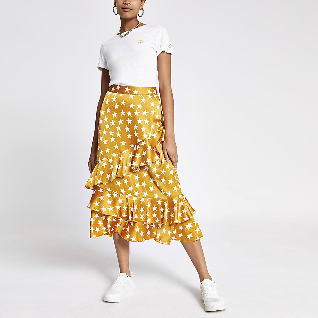 Yellow star print frill midi skirt