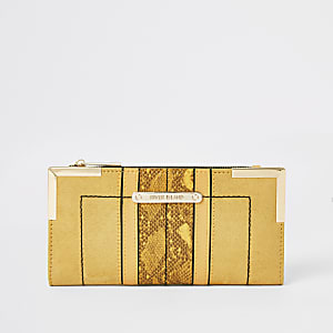 Yellow suedette foldout metal corner purse